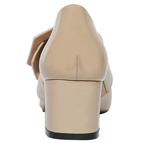 ENMAYER Frauen Split Leder Slip auf spitzen Zeh Schuhe für Frauen Square Heels Frühling Herbst Shallow Casual Dress Schuhe Beige(5.5cm)