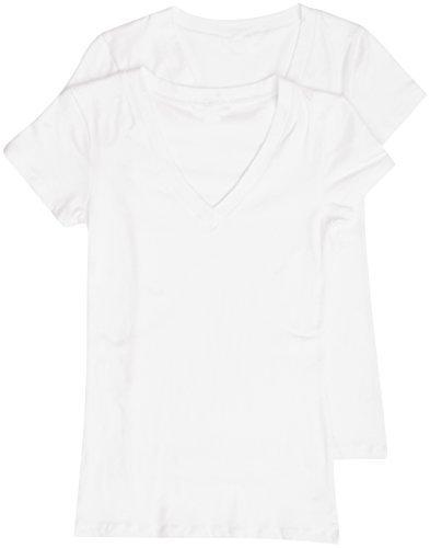 f05331293 2 Pack Zenana Women's Basic V-Neck T-Shirts Med White, White