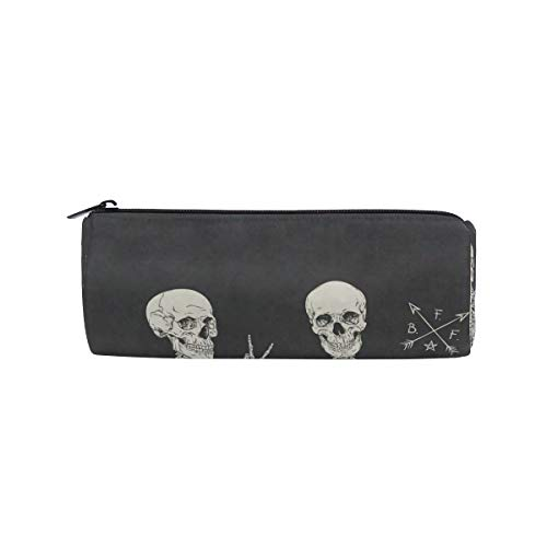 Pencil Case Human Skull Skeletons Best Friends Women Makeup Bag Zippered Pencil Box Round Stationery Bag for Students -