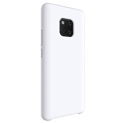Matop Liquid Silicone Case Compatible for Huawei Mate 20 Pro,[Microfiber Cloth Cushion Lining][Free Tempered Film] Slim Soft Full Body Shockproof Protection Shell for Huawei Mate 20 Pro,White