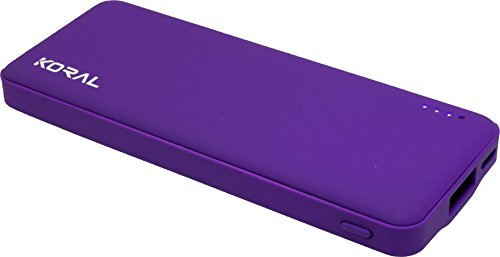 Koral Luma 3000 Portable Charger - Compact 3000mAh Power Bank (External Battery) for iPhone 6, 7, 8, X, iPad, Kindle, Samsung Galaxy & All Android (Purple)