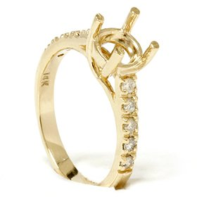 Diamond Semi Mount Engagement Setting Mounting 14K Ring 14k Yellow Gold Mount