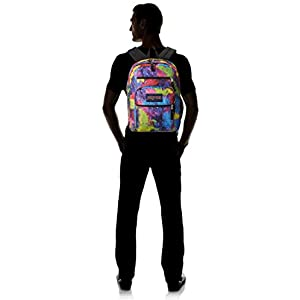 JanSport Big Student Backpack - Multi Neon Galaxy / 17.5H x 13W x 10D