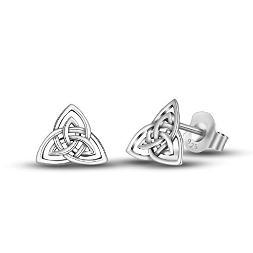 (INFUSEU 925 Sterling Silver Irish Celtic Trinity Knot Stud Earrings for Women (Double)