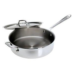 All-Clad BD55404 D5 Brushed 18/10 Stainless Steel 5-Ply Bonded Dishwasher Safe Saute Pan with Lid Cookware, 4-Quart, Silver by All-Clad (Image #1)