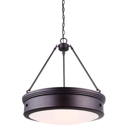 CANARM ICH624A04ORB20 Boku ORB 4 Light Chandelier with Flat Opal Glass, Oil Rubbed Bronze