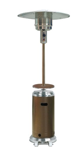 Hiland HLDS01-SSHGT 48,000 BTU Propane Patio Heater w/Wheels and Table, Large, Hammered Bronze/SS (Slate Tables Side Patio Top)