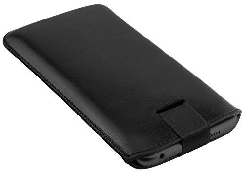 mumbi ECHT Ledertasche für HTC One A9 Tasche Leder Etui schwarz (Lasche mit Rückzugfunktion Ausziehhilfe)