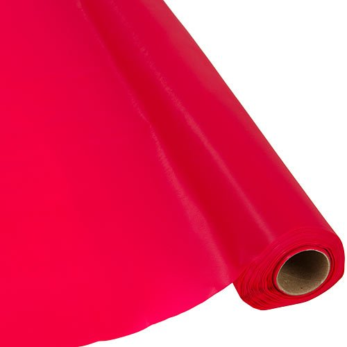 Plastic Party Banquet Table Cover Roll - 300 ft. x 40 in. - Disposable Tablecloth (Red)