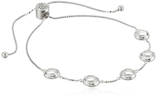 925 Sterling Silver Swarovski Crystal Adjustable Slider Bracelet (4.4 cttw) ()