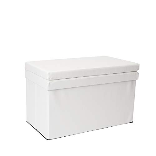 Dormify Collapsible Storage Ottoman Bench with Seat Back – Dorm Room Decor, White