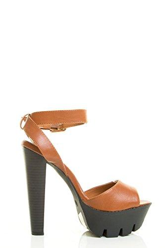Breckelles Womens Peep Toe Fibbia Cinturino Alla Caviglia Tacco Alto Con Plateau Pompa Sandalo Tan
