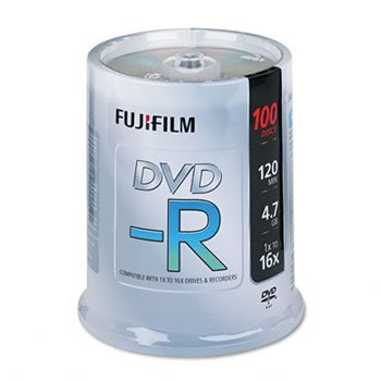 Fuji 25303101 - DVD-R Discs, 4.7GB, 16x, Spindle, Silver, 100/Pack-FUJ25303101 by Fuji