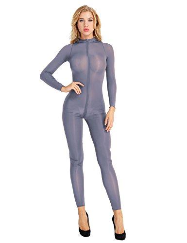 TiaoBug Women's Sexy Mesh Sheer Zipper Long Sleeves Turtleneck Catsuit Teddy Bodysuit Gray Medium]()
