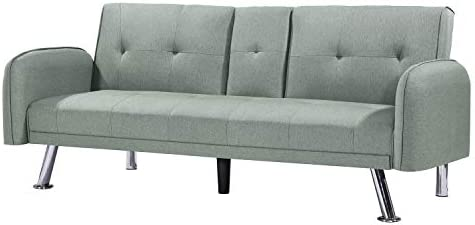 Convertible Versatile Sofa Sleep Bed, Leather Recliners Pillow-Top with Armrest and 2 Cupholders sage Green