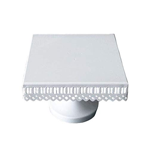 Dessert Stand, Botitu 10 inch Square Cake plate with Steel Pedestal for Wedding Cupcake Display, Perfect for Showing Appetizers, Brownies, Crackers, Macrons and Muffins Stands(white)
