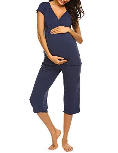 Ekouaer Breastfeeding Motherhood Pajama Set Short Sleeve V Neck Pregnancy Capri Pajamas for Women (Navy Blue S)