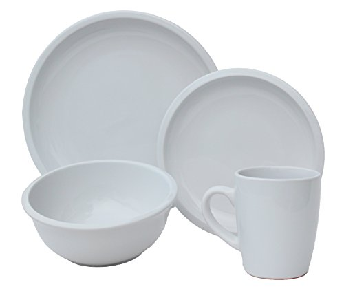 Melange 16 Piece Contempo Cantina 2-Tone Stoneware Dinner Set Place Setting, Serving for 4, White (Place For Settings Sets Dinnerware 12)