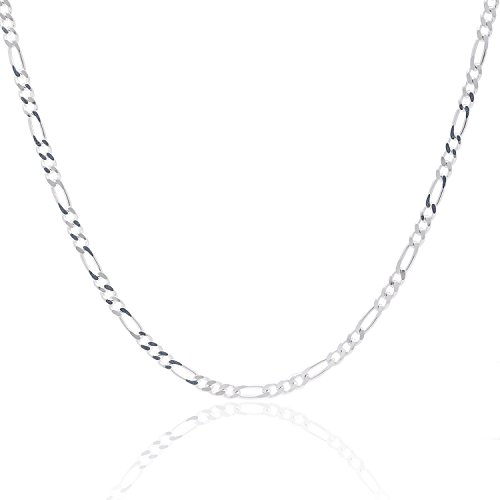 925 Sterling Silver 3MM Figaro Chain - Italian Crafted Necklace For Men & Women - Lobster Claw Clasp - 22 (Necklace 925 Silver Clasp)