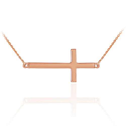 14k Solid Rose Gold Sideways Cross Necklace (16 Inches)