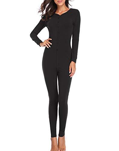 Lusofie Womens Cotton Thermals Adult Onesie Henley Thermal Underwear Union Suit (Black, L)