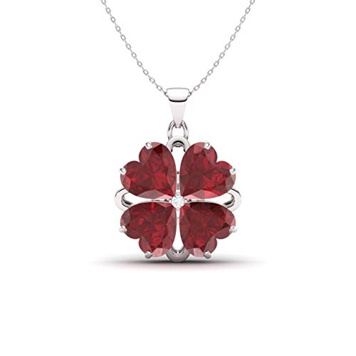 Diamondere Natural and Certified Heart Cut Ruby and Diamond Flower Necklace in 14k White Gold | 2.27 Carat Pendant with - White Flower Gold Pendant Diamond