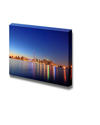 YEHO Art Gallery Canvas Prints Wall Art Oil Paintings for Livingroom Bedroom Toronto Cityscape Skyline Panorama at Dusk Over Lake with Colorful LightModern Canvas Wraps Giclee Print 8