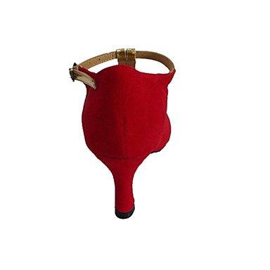 XIAMUO Anpassbare Damen Tanzschuhe Latein/Ballsaal Lackleder/Beflockung angepasste Ferse Rot, Rot, US 9.5-10/EU 41/ UK 7,5-8/CN 42