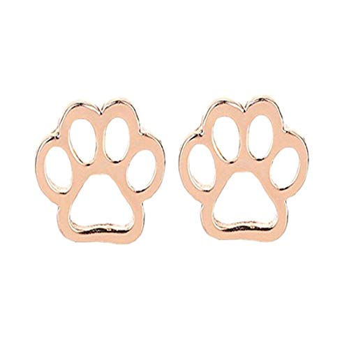Cat Paw Ear Crawler Earrings Climber Dog Paw Print Stud Cuff Ear Wrap Pin Vine Hollow Out Pierced Jewelry Rose Gold (Gold Cat Earring Cuff)