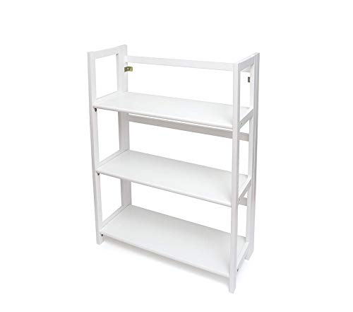 Lippеr Intеrnаtiоnаl 3-Shelf Folding Bookcase, 27.25 W x 11.5 D x 38 H, White -