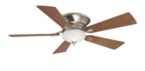 - Minka-Aire F711-PW Flush Mount, 5 Wood Finish Blades Ceiling fan with 70 watts light, Pewter