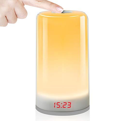 Réveil Lumière,Oxford Street Veilleuse, Lampe de Chevet Colorée, Lampe Nuit TactileLampe de Table Rechargeable avec Lumière Blanche Chaude pour Chambre à Coucher, Salle de Bébé