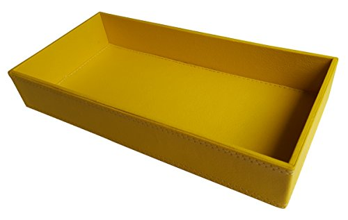 Yellow Men's Valet Box Rectangular Faux Leather Tray (Faux Leather Mens Valet)
