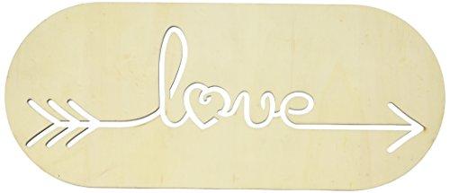 Darice Love Plaque, 14 x 6 inches Laser Cut Wood Sign, Beige ()