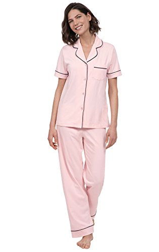 PajamaGram Womens Pajama Set Soft - Short Sleeve Pajamas for Women, Pink, S, 6-8