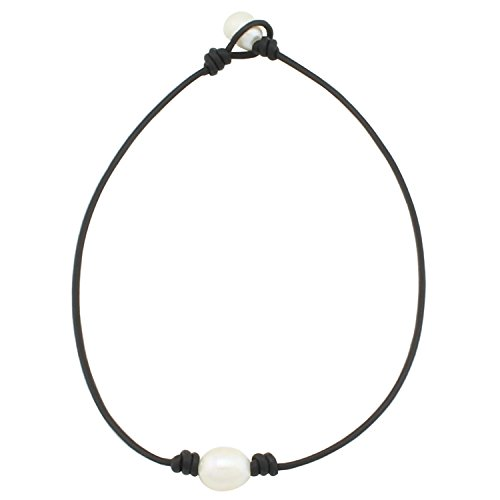 Aa+ Natural Pearl Necklace - Wunionup One Pearl Black Leather Necklace - Real Leather Wrap Around Costume Rope Choker Necklace With 2.0mm Black Genuine Leather Cord and AA Grade White 12mm Rice Pearl Necklace Jewelry 14 Inch