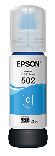 Epson T502 EcoTank Cyan Auto-Stop Ink Bottle (ET-2700, ET-2750, ET-3700, ET-3750, ET-4750) -  0.260, Ink Cartridges