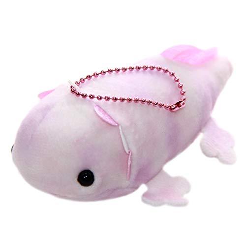 Mochi Puni Small Axolotl Plushie Kawaii Stuffed Animal Japanese Plush Doll Pink Keychain Size 4 Inches ()