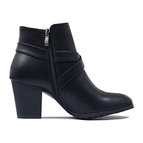 Guilty Chunky Blackv3 Toe Closed Comfortable Womens Heart Heel Pu Ankle Mid Block Bootie Boots rRqrA