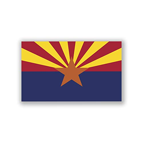 (2-Pack Arizona State Flag Decal Sticker | 5-Inches by 3-Inches | Premium Quality Vinyl | PD309)