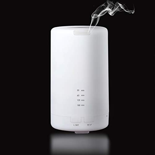 (100ml USB Essential Oil Aromatherapy Diffuser Portable Mini White Humidifier Air Refresher Auto-Off Safety Switch 7 LED Light Colors for Home Office Car Vehicle Travel (White))