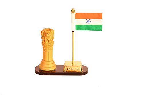 QS QUICK SILVER Ashoka Pillar with Indian Flag Symbol for Car Dashboard, Home Table, Office Desk, Khadi Flag with Wooden…