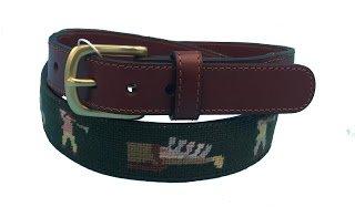 Charleston Belt Golf Forever Fairway Green Leather Needlepoint Belt (Design Needlepoint Wool)