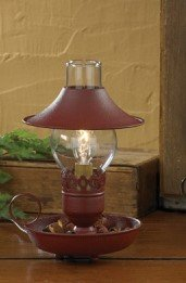 Red Chamberstick Lamp with Shade