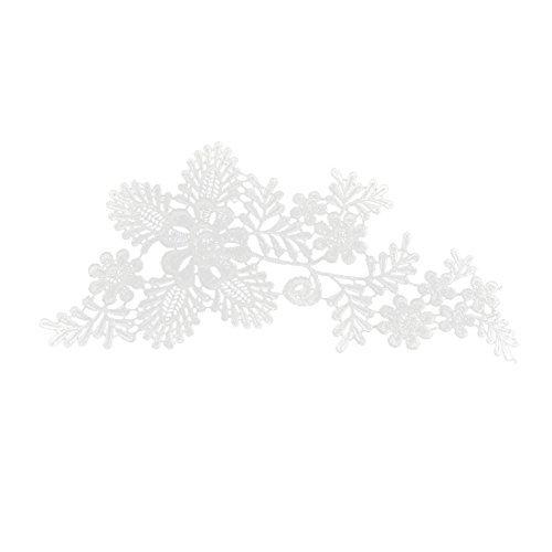 eDealMax Polister boda de la Flor diseo de ropa escote borde de Encaje apliques 28 x 15 cm Par