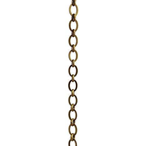 RCH Hardware CH-14-AB Decorative Antique Solid Brass Chain for Hanging, Lighting-Ovals with Circular Connecting Rings and Unwelded Links (1 Foot)