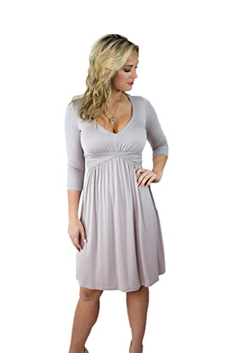 V Women's 3 Your 4 Grey Knee The Prince Dress Fall Sleeve Charm Neck Above pFnRp