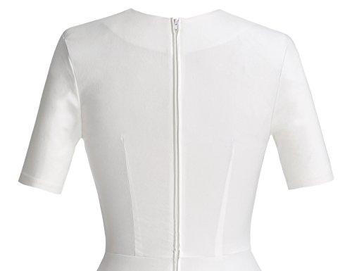 Vintage Women's Dress Swing White 50s Sleeve Short MUXXN Pleated qOEPv6x