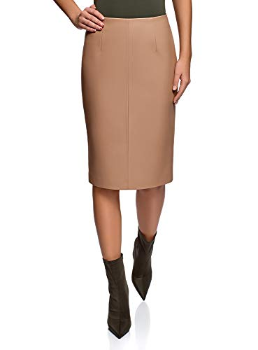 oodji Collection Women's Faux Leather Pencil Skirt, Beige, 2