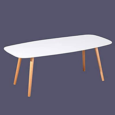 GreenForest Coffee Table, Modern Oval Cocktail Center Table for Living Room in White